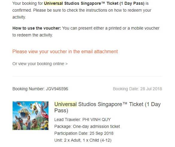 Mua vé Universal Stuido Singapore qua Klook giá rẻ