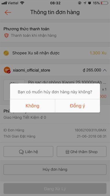 Hủy đơn hàng Shopee bằng cách đăng nhập tài khoản