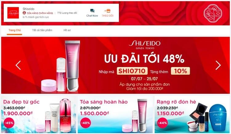 Gian hàng mỹ phẩm chính hãng của Shiseido ở Lazada