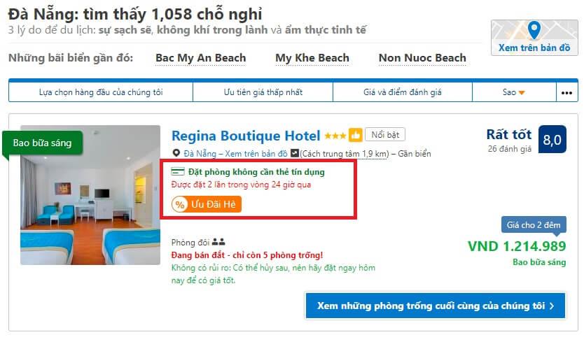 Booking.com giảm giá phòng khách sạn