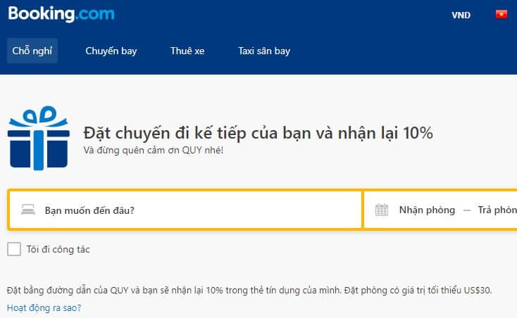 Booking.com hoàn tiền 10% khi đặt khách sạn
