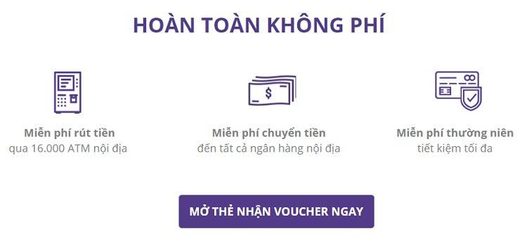 Thẻ ATM Timo được miễn hết các loại phí trọn đời