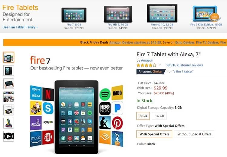 Fire 7 và Fire HD 8 giảm giá cực lớn ở Amazon