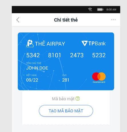 Thẻ MasterCard có thể tạo trên ứng dụng AirPay