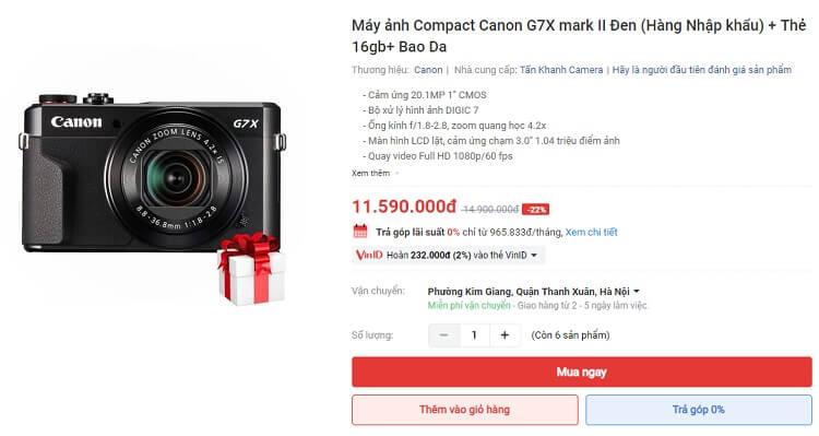 Chọn máy ảnh trả góp 0% để mua