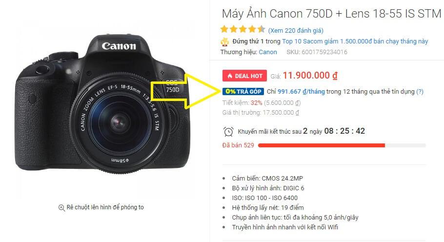 Mua máy ảnh trả góp lãi suất 0% trong 12 tháng tại Tiki