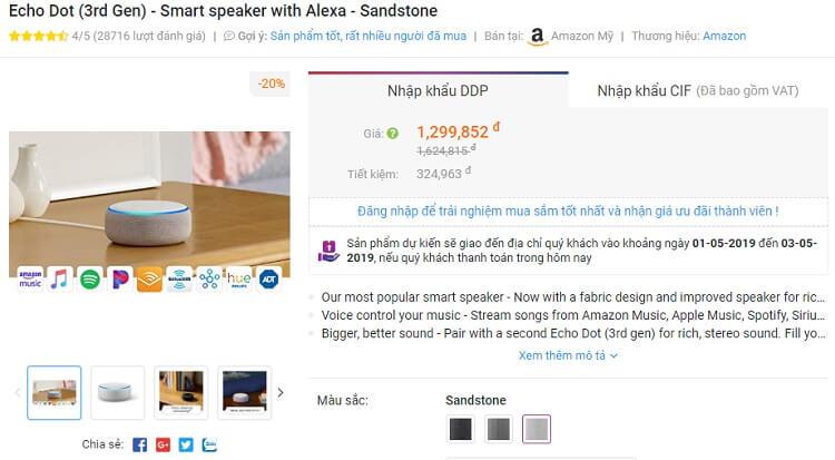 Giá mua Echo Dot từ Amazon qua Fado