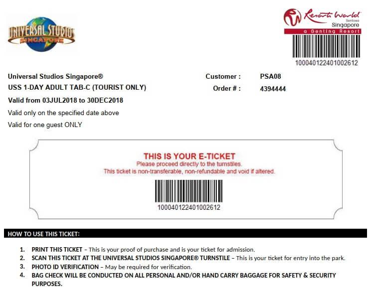 Vé điện tử Universal Studio Singapore mua trên Klook