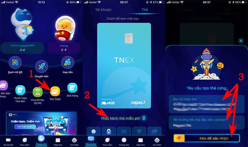 Đăng ký mở thẻ ATM ngân hàng số TNEX MSB Online