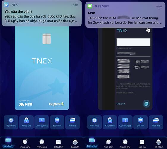 Thông báo tin nhắn mở thẻ thành công và mã PIN của thẻ ATM TNEX