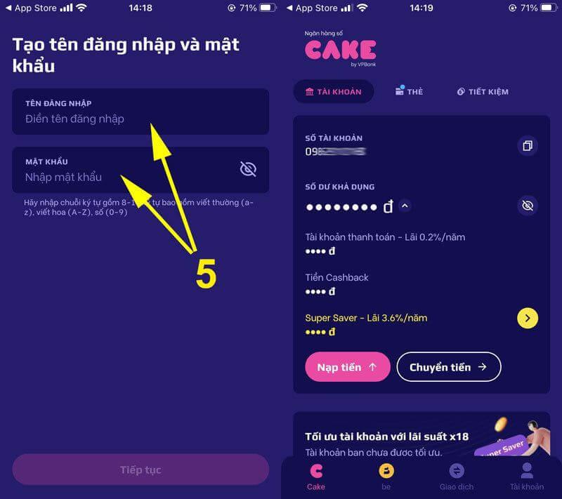 Tạo tài khoản và đăng nhập CAKE