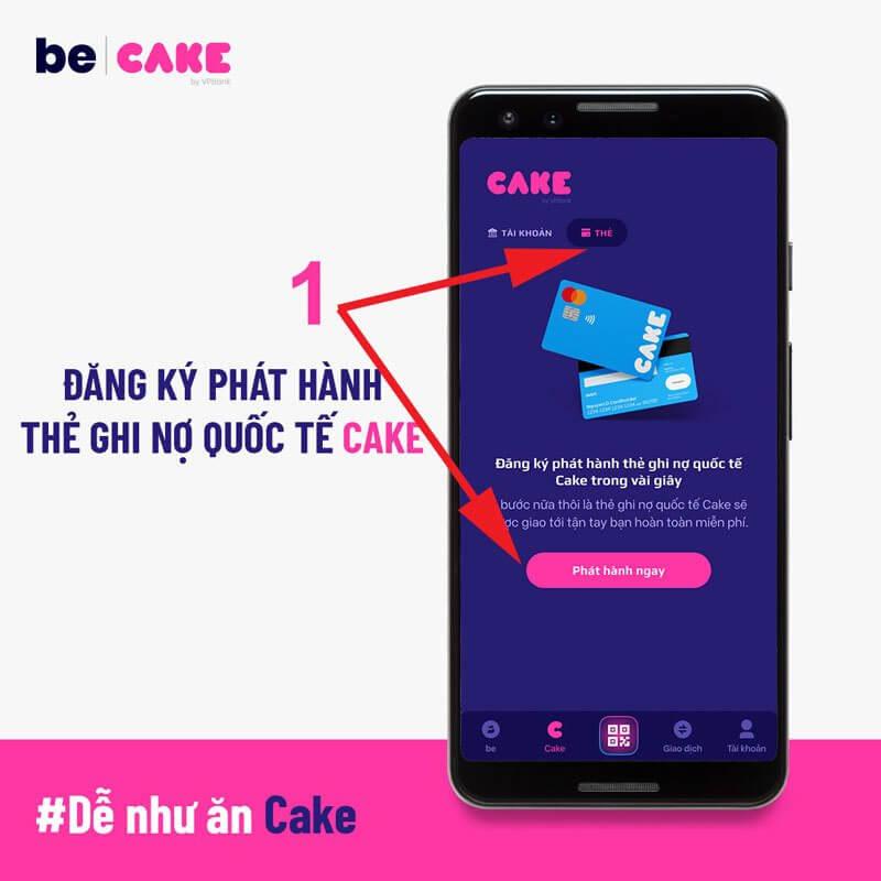 Truy cập mục Thẻ trên App CAKE